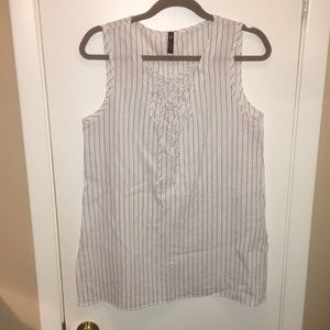 White v neck tank with navy pinstripe